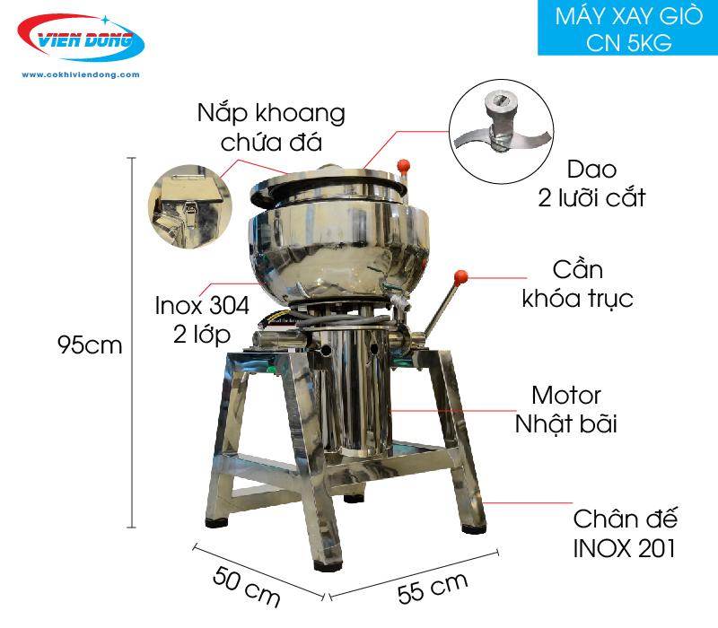 Máy xay giò chả công nghiệp 5kg